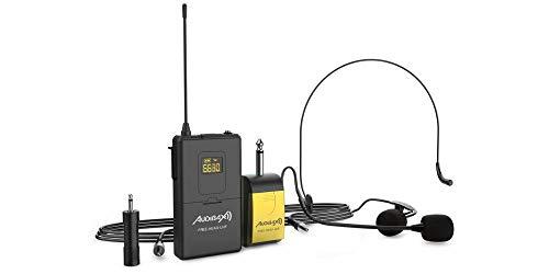 Audibax - Missouri Free Head UHF - Micrófono Inalámbrico de Diadema - Set de 1 Equipo de Petaca con Micrófono de Diadema - Óptimo para Exteriores - Conmutador On/Off - Baterías AA
