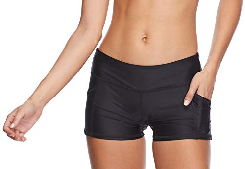 Body Glove Women's Rider Elastic Waist Hybrid Swim Short with UPF 50+, Smoothie Black, Large