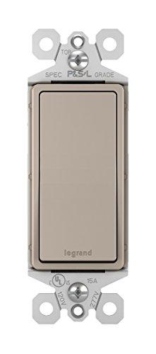Legrand radiant 15 Amp Rocker Wall Switch, Decorator Light Switches, Brushed Nickel, 3-Way, TM873NICC10