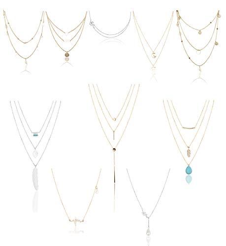 YADOCA 10 Stück Mehrschichtige Halskette für Frauen Mädchen Herz Blatt Stern Mond Türkis-Perlen Anhänger Halskette Retro Choker Schlüsselbein Kette