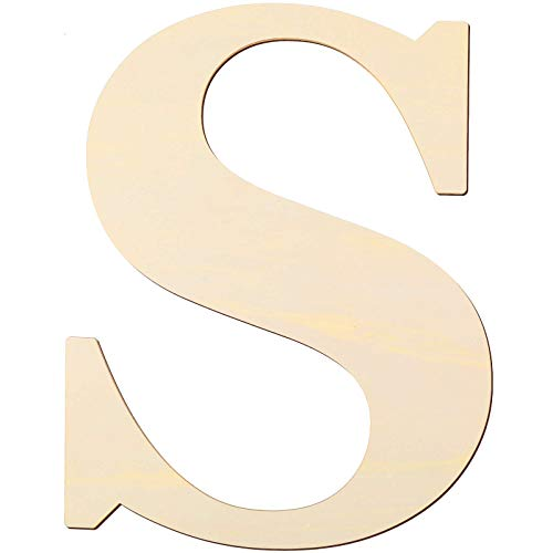 12 Inch Unfinished Wooden Letters Wood Letters Sign Decoration Wooden Decoration for Painting, Craft and Home Wall Decoration (Letter S)