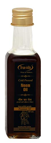 True Oils (lilas indien, Azadirachta indica) Huile de neem (margousier) antipelliculaire, démangeaisons de la peau et traitement de l'acné, 100 ml