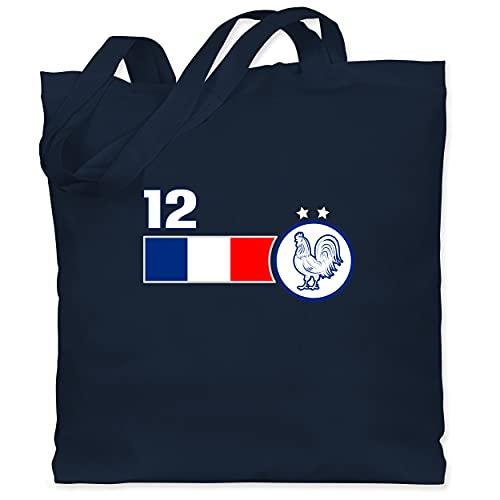 Shirtracer Fussball EM 2021 Fanartikel - 12. Mann Frankreich Mannschaft - Unisize - Navy Blau - Geschenk - WM101 - Stoffbeutel aus Baumwolle Jutebeutel lange Henkel
