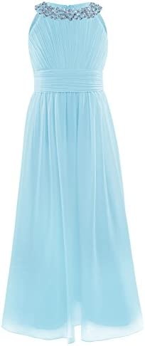 iEFiEL Girls Chiffon Sleeveless Pageant Prom Party Wedding Bridesmaid Flower Girl Dress Sky product image