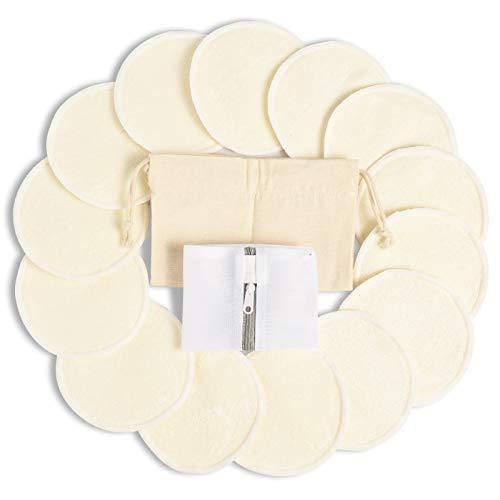 Bambus 14 Pcs Stilleinlagen Waschbar Wiederverwendbar, Momcozy Still-Pads für Brustwarzen, für Stillende Mütter, mit Wäschebeutel & Reisetasche (12cm)