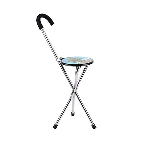 N\\C Gehstock Krücke zusammenklappbarer Stuhl Aluminiumlegierung Gehstock Hocker Dreibeiniger Gehstock Stuhl Leichte Gehhilfe Krücke-11.19