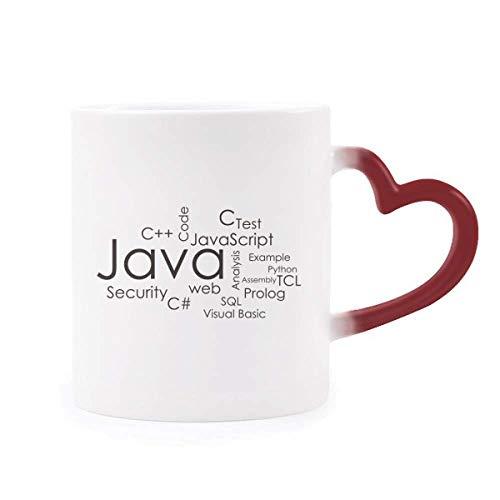 DIYthinker Programador Relacionados con el Programa Java Morphing de Calor de la Taza Copa Sensible Corazón Rojo