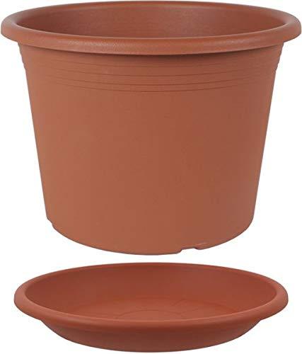 MePla Set 2-TLG. aus Blumentopf Pflanzkübel Cilindro rund Durchmesser 60 cm und Untersetzer rund ø58 cm, Terracotta, wetterfest aus UV-beständigem Kunststoff
