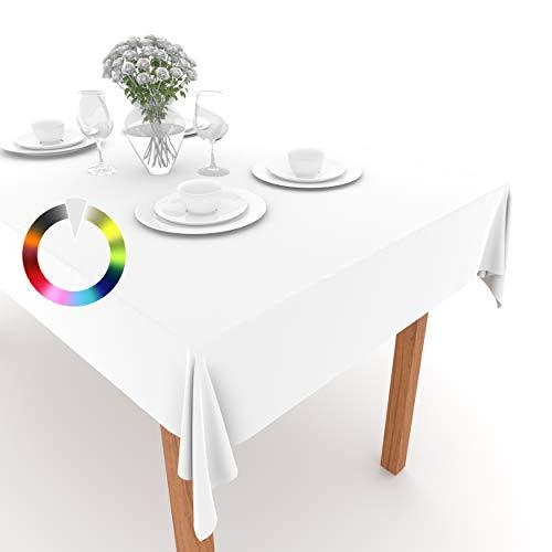 Rollmayer Tischdecke Tischtuch Tischläufer Tischwäsche Gastronomie Kollektion Vivid Uni einfarbig pflegeleicht waschbar (Weiß 1, 140x400cm)