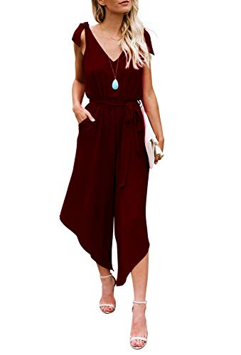 BELONGSCI Women Sleeveless Jumpsuit with Belt V-Neck Wide Leg Long (Wine red, M)