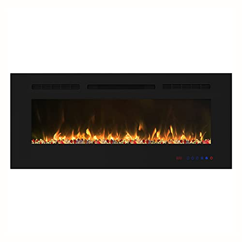 EASE-WAY 42 inch Electric Fireplace, Recessed and Wall Mounted Electric Fireplace Insert, Control by Touch Panel & Remote, 13 Flame Settings