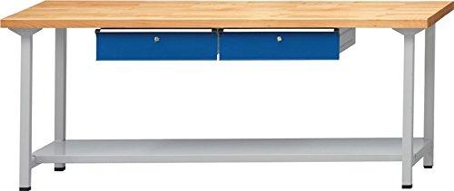 Anton Kessel GmbH Werkbank BL B1500xT700xH890mm Buche massiv lichtgrau enzianblau Anz. Schubl. 2