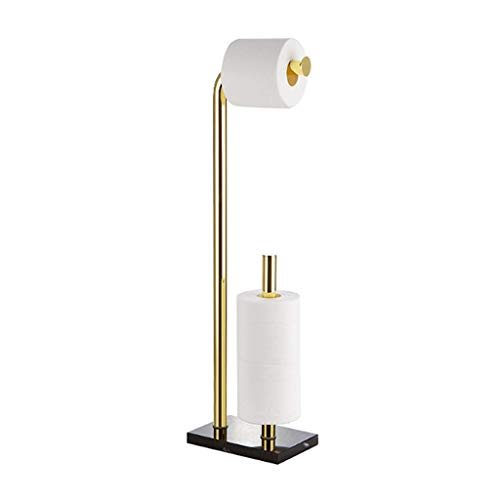 Modern Simplicity Free Standing Bathroom Toilet Paper Holder Stand with Reserve Rack-Free Punching Roll Holder Hand Tray ,Bathroom Storage Rack (Color : Gold)