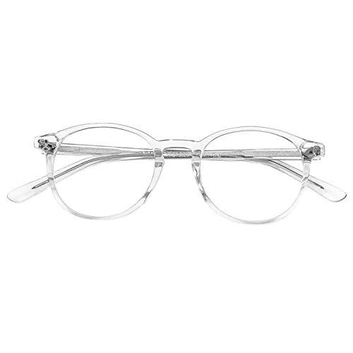 ZENOTTIC Vintage Runden Brillenrahmen Nerdbrille Ohne Sehstärke Retro Klare Linse Gläser für Damen und Herren (Durchsichtig)