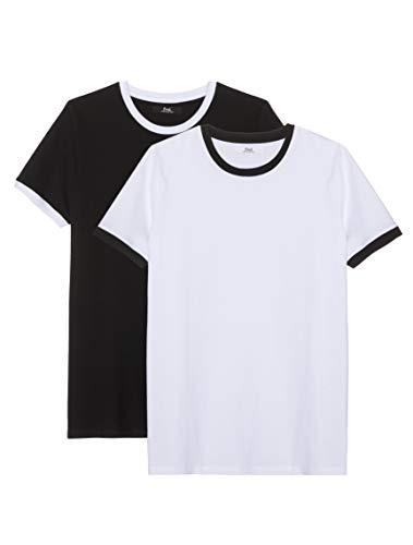 Amazon-Marke: find. Herren T-Shirt, 2er-Pack, Mehrfarbig (Black/ White), S, Label: S