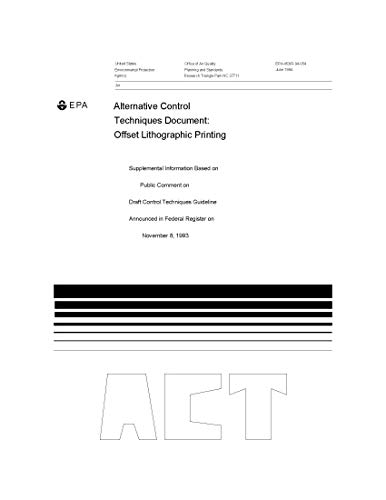 Alternative Control Techniques Document Offset Lithographic Printing Supplemental Information Based on Public Comment on Draft Control Techniques Guideline ... Register on November 8 (English Edition)