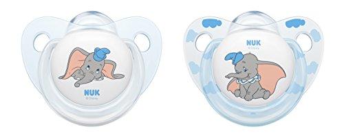 NUK Disney Classics Trendline Silikon-Schnuller Dumbo, kiefergerechte Form, 0-6 Monate, 2 Stück