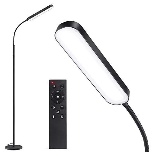 Lámpara de pie LED OUTON 15W 1500LM, Regulable Lámpara moderna LED cuello de cisne, 4 Temperatura de Color, Control Remoto y Táctil, Iluminación de tareas para leer Sala de estar Dormitorio Oficina