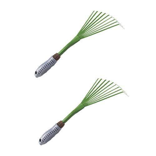 Doitool 2 Piezas de Rastrillo de Arbusto de Mano Rastrillo de Alambre de Raíz de Hierba con Agarre Ergonómico Rastrillo de Mano de Trabajo Pesado Herramienta de Limpieza de Hojas para