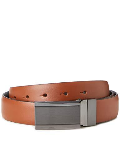 Marca Amazon - find. Cinturón de Cuero Hombre, Marrón (Brown), L, Label: L