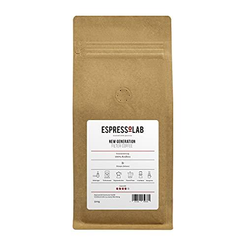 ESPRESSOLAB 'New Generation' Caffè Crema/Filterkaffee Kaffeebohnen | helle Röstung, kräftig, säurearm | Aeropress, French Press, V60, Chemex | 100% Arabica | 500g | Premium Kaffee aus Privatrösterei