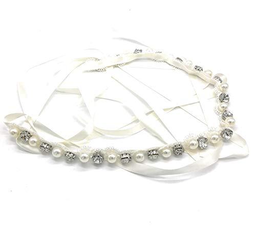 Unbekannt Brautgürtel Taillenband Damen Gürtel Abendkleidgürtel Strass Perlen Weiß Ivory Damengürtel Perlengürtel Satinband Satin Band (Ivory)