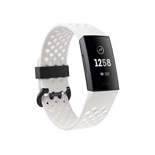 Fitbit Charge 3 Special Edition mit NFC. Der Innovative Gesundheits-und Fitness-Tracker, Frostweiß/Aluminium-Graphitgrau (inkl. schwarzem Ersatzarmband), Einheitsgröße