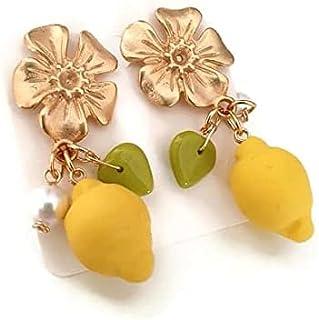 orecchini limoni, limone, orecchini limone, orecchini frutta, orecchini con perle di fiume