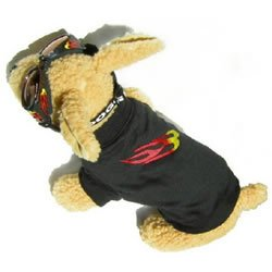 Doggles DOK9TS14-12 K9 Klothes - 14 T-Shirt K9 Black with Flames
