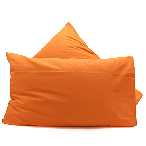 Par de fundas de almohada de algodón Lovetessile de color liso, 50 x 80 cm (naranja V3)