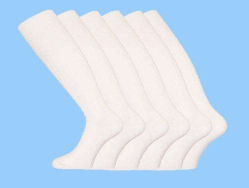 Socks Uwear Kniestrümpfe gerippt aus Baumwolle für Herren Größe 39–46 L Weiß - weiß