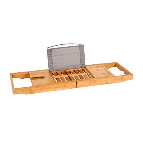 Wonderhome Badewannenablage Bambus, Ausziehbare Badewannenablage,Badewannentablett Mit Handtuchboxen Und Buchstütze Für Ipad,Mit Getränkehalter BHT(71-105)*22 * 4CM