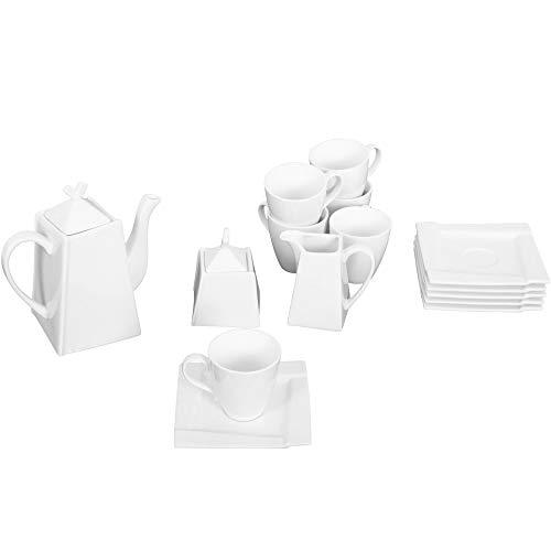 AMBITION Serwis do kawy zestaw porcelanowy prostokątny biały filiżanki spodek cukiernica dzbanek do kawy dzbanek na mleko sześcienna 17-częściowy
