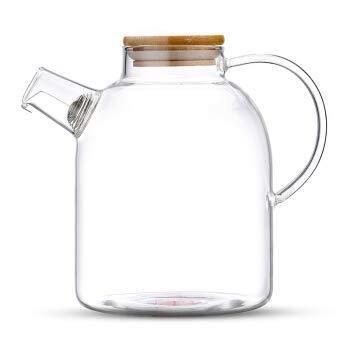 TEA & TEA 1500 ml theepot met bamboedeksel en korte uitloop, hoogwaardige theepot van borosilicaatglas met logo op de…