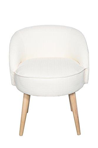 Kleiner Hocker Sessel Stuhl mit Lehne Creme weiß WS487
