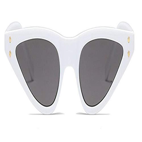 Moda Gafas De Sol Cat Eye Gafas De Sol Mujeres Triángulo Pequeño Gafas Vintage con Estilo Cateye Gafas De Sol Mujer Uv400 Gafas Rojo Blanco Gris