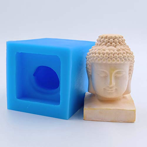 Mini Buddha Head Candle Molds Wax Melt Resin Epoxy Gypsum Crafts Mold Mould Decorating Silicone Mold for Candle Making
