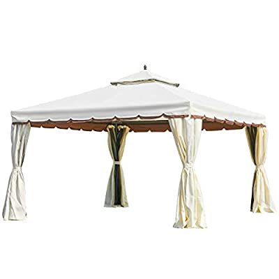 MELLCOM 12' x 12' Outdoor Gazebo Canopy, Aluminum Frame Soft Top Outdoor Patio Gazebo with Polyester Curtains and Air Venting Screens Beige