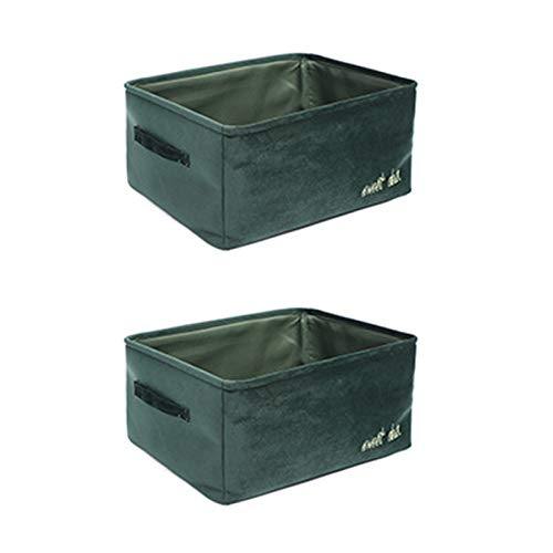 KLFD Set of 2 Multifunction Foldable Storage Box with Handles Dresser Drawer Closet Organizer Office Bedroom Toys Laundry Basket Containers for Socks, Underwear, Bras, Ties,Green,40 * 30 * 20cm