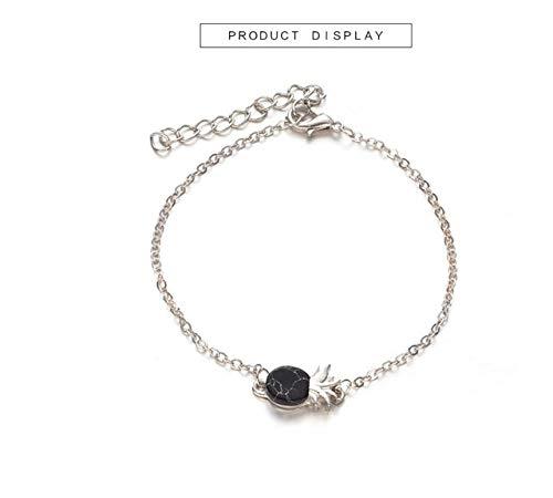 JYHW Fashion Plaat Zwart Wit Geometrische ketting en schakelarmbanden Punky Armband Armband Armband Marmer Imitatie India zoals afgebeeld