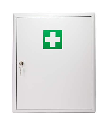 Stahl Verbandschrank mit Verbandmaterial Erste Hilfe Kasten Medizinschrank Verbandschrank Stahlblech mit Füllung DIN 13169 abschließbar 620271