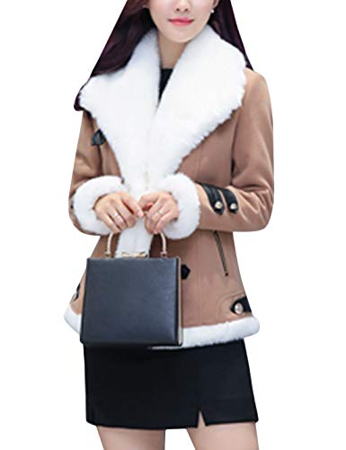 Tanming Womens Winter Warm Lapel Double Breasted Wool Blend Coat Sherpa Lined Coats (Khaki, Small)