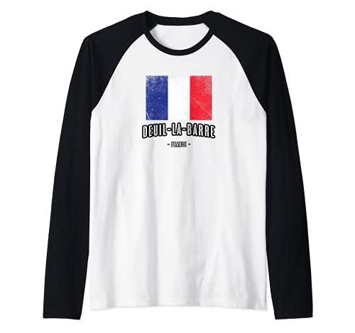 Deuil-la-Barre Francia   FR Città Bandiera - Drapeau - Maglia con Maniche Raglan