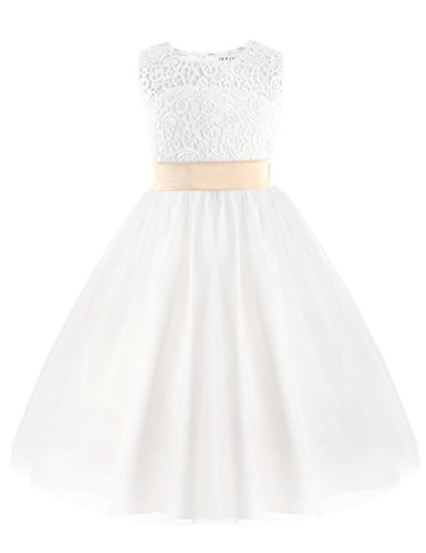 Tiaobug Festliches Mädchen Kleid Prinzessin Blumenmädchen-Kleid Hochzeit Brautjungfern Festzug...