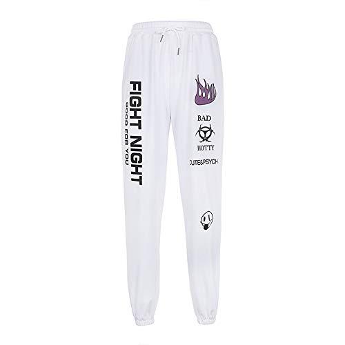 Tasty Life Pantalones Casuales De Hip Hop para Mujer Pantalones De Chándal Estampados De Cintura Alta Pantalones Cónicos Sueltos Pantalones Cálidos De Primavera Estilo Callejero (S,White)