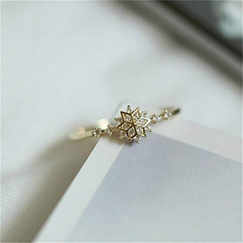 Mvude Anillo de compromiso clásico con diseño de copo de nieve con diamantes de imitación y piedras preciosas artificiales, anillo de compromiso para mujer 9