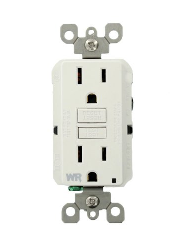 Leviton GFWR1-W Self-Test SmartlockPro Slim GFCI Weather-Resistant Receptacle with LED Indicator, 15 Amp, White