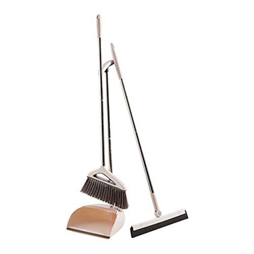 DQM Broom and Dustpan Set Cleaning Supplies, huis met schrapen bezem set, Ideaal voor keuken, appartement, studio, lobby, kantoor, magazijn, Lanai, patio, foyer of overal een harde vloer