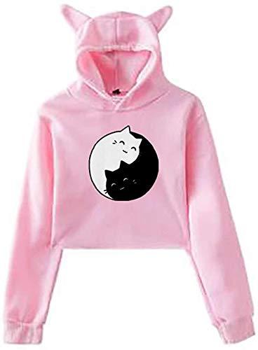 Miwaimao Womens Hooded Crop Hoodies Casual Long Sleeve Cat Ear Hoodie Pullovers Crop Tops