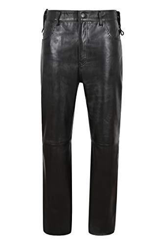 Smart Range Leather Pantalones de Cuero para Hombre Cintura con Cordones Laterales Gótico Negro Cuero Real Biker Jean Pant 515 (32)